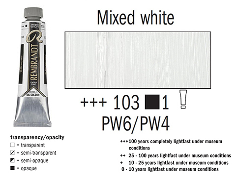 Маслена боя Рембранд 40мл,1с,mixed white 103