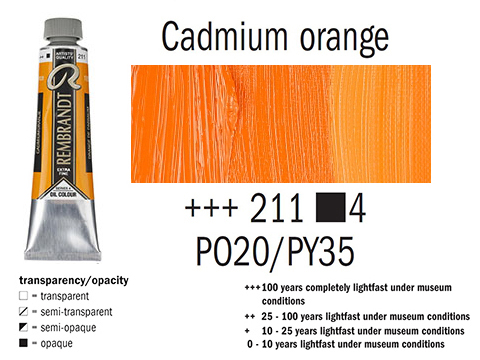 Маслена боя Рембранд 40мл,4с,cadmium orange 211